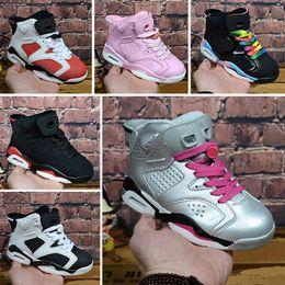 the best attitude 2abc3 aea2e Nike air jordan 6 retro Großhandels-neuer Rabatt scherzt 6 Baby-Basketball-Schuhe  unc gold schwarzes rotes Kind 6s Jungen-Turnschuh-Kindsport-niedrige ...