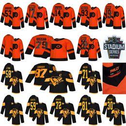 2019 eishockey-trikots orange 2019 Stadium Series Pittsburgh Penguins Philadelphia Flyers 87 Sidney Crosby 71 Malkin 58 Letang 28 Giroux 79 Hart Hockey Jerseys günstig eishockey-trikots orange