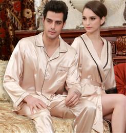 Casal Pijama Primavera E Verão Nova Simulação De Seda Fina Seção Pijamas Mulheres Elegante Temperamento Camisola De Duas Peças de