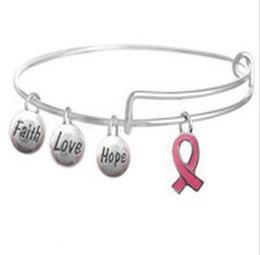 bänder freundschaft armband Rabatt Breast Cancer Awareness Pink Ribbon Charm Bracelets Erweiterbare Draht Armreif Armbänder DIY Schmuck Freundschaft Geschenk Armband Zubehör Geschenk