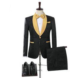 Smoking amarelo preto on-line-Moda Smoking Do Noivo Preto Um Botão Amarelo Xale Casamento Lapela Terno de Festa de Formatura Smoking Ternos Blazer dos homens Custom Made (Jacket + Calças)