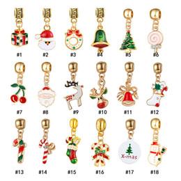 glockenperlen Rabatt Mode Weihnachten Emaille Großes Loch perlen Charme Weihnachtsbaum weihnachtsmann girlande glocke Spacer handwerk perle Für armband schmuck Machen