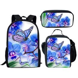 Bonitas mochilas para meninas on-line-Alunos Bag 3Pcs / set Consideravelmente borboleta impressão Backpack for Girls Crianças Meninos Beautful Schoolbag Bookbag Mochila mochila