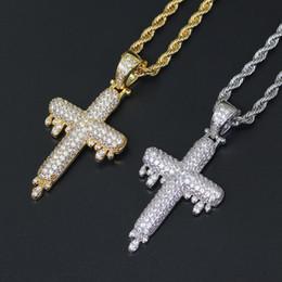 Mode nouveaux bijoux hip hop européens et américains Collier goutte goutte d'eau pendentif en cuivre incrusté de zircon Collier ? partir de fabricateur