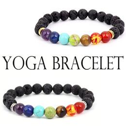 Canada Gratuit DHL Mode 7 Chakra Volcanic Lave Mala Bracelet Méditation Bracelet Or Argent Guérison Bijoux Charme Yoga Bracelets Cadeau Unisexe B124S F Offre