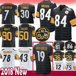 0cd3cafcc Pittsburgh 84 Antonio Brown Steelers 19 Juju Smith-Schuster Jersey 90 T.J.  Watt 30 James Conner 43 Troy Polamalu 78 Villanueva 7 36 Bettis