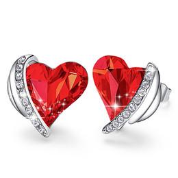 brincos de asa de coração Desconto Presentes New Natal Jóias Anjo Cristal Red Wing Coração Stud Brincos para Mulheres Acessórios frete grátis