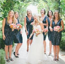 Свадебные платья онлайн-Блестки Короткие Темно-Синие Платья Подружек Невесты Изображения Южная Африка Вечернее Платье Сексуальная V-Образным Вырезом Платья Выпускного Вечера 2018