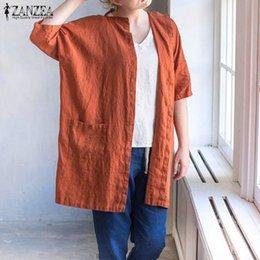 Artı Boyutu 2017 Sonbahar ZANZEA Kadınlar Vintage Bluz Gevşek Rahat Yarım Kollu V Boyun Katı Gömlek Uzun Blusas Dış Giyim Hırka nereden