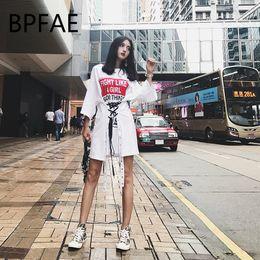 0599bdb7a2 2018 BPFAE Summer Women Japanese Harajuku Short Sleeve Letter Printed Lace  Up Bandage T-Shirt Dress Hiphop Vestdio Plus Size C19010801