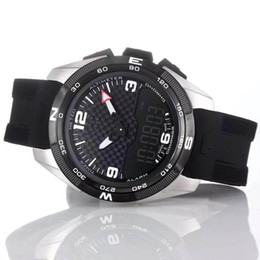 relógios de quartzo solar Desconto Atacado T-Touch Perito Solar T091 Black Dial Quartz Chronograph Rubber Strap implantação fecho Men Relógios de pulso Mens Relógios