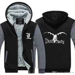 Death Note Veste à capuche hiver coton manteau de sport à capuche Zipper Veste à capuche en laine s épaissir super chaude Sweat shirt Taille de l UE