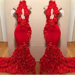 Deco online-Red New Design Mermaid Prom Dresses Appliques Collo alto Sexy abiti da sera formale Sweep Train Satin Luxury Fashion Cocktail Party Gowns
