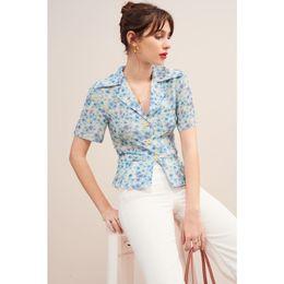 Blu bluse di fiori online-100% Seta Donne Blue Flower Stampa shirt Top 2019 di nuova estate manica corta grandi tasti fresca camicetta
