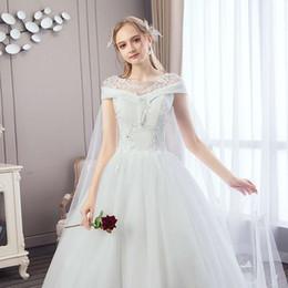 74d6ffa64 Vestido de novia blanco Vestido de bola Neat Manga corta Europa y estilo de  nosotros Big Tail Tie Borde de encaje Versión delgada Simple Columpio  gigante