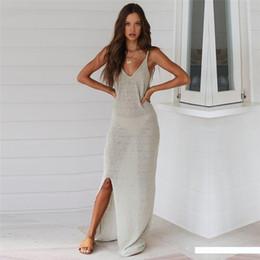 NoDelay 2020 Kadınlar Örgü Bikini Cover Up Spaghetti askısı Plaj Tunik Elbise Kolsuz Kaftan Robe Bölünmüş Kapak-Ups Plaj Pareo nereden