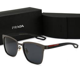 Пластина материала онлайн-Высококачественные мужские поляризованные солнцезащитные очки мужчины квадрат позолоченный материал анти-UV400 солнцезащитные очки óculos de sol masculino мужская коробка P0120