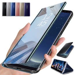 2019 huawei flip telefone Flip case für samsung s10 s9 s8 plus s10e hinweis 8 handyhalter galvanisieren klar smart spiegel abdeckung für huawei p30 pro p20 günstig huawei flip telefone