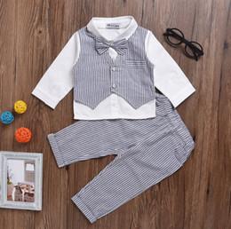 junge outfit weste Rabatt Kleinkind scherzt langes Hülsenhemd der Leistungsausstattungsjungenstreifenweste + elastische Hosen 2pcs der Doppeltasche stellt Babykleidung F8081 ein