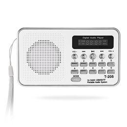 T-205 Портативный мини-цифровой стерео-динамик FM-радио Музыкальный плеер Белый Поддержка TF / SD-карта аккумуляторная от