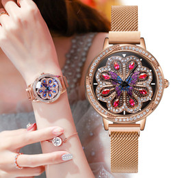 японские часы марки Скидка NAKZEN  Female Watch Rotating Dial Peacock Wheel Women's Watches Japanese Movement Copper Case Steel Mesh Belt Ladies Watch