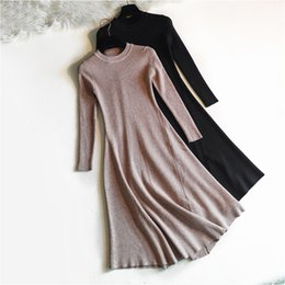 bf1479d4d15 NEW chic 2018 Winter black Sweater Dress Women o-neck Long Sleeve A Line  thick Knit long Dress bodycon female slim girl dress