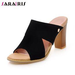 2019 дамские тапочки размер 34 SARAIRIS  New Big Size 34-43 Summer women's Mules Ladies High Heels Shoes Woman Casual Party Office Slippers Female скидка дамские тапочки размер 34