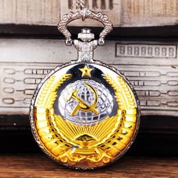 2019 schaut russland Vintage UdSSR Sowjetische Abzeichen Sichel Hammer Taschenuhr Halskette Gold-Silber Anhänger CCCP Russland Emblem Kommunismus Kettenuhr günstig schaut russland