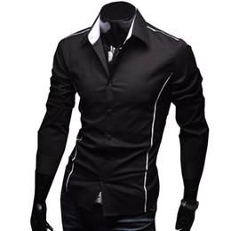 Canada 2019 De luxe Élégant Casual Designer Edge Piping À Manches Longues Robe Chemise Muscle Fit Chemises 3 Couleur 5902 # 388372 cheap elegant edge dress Offre