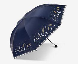 2019 nuovo Pieghevole protezione solare UV protezione pioggia doppio uso ombrello ombrello personalizzato ombrello femminile tre volte spedizione gratuita da