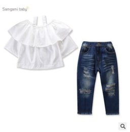 05339355d Ropa de diseñador para niños, niñas, 2 piezas, ropa, trajes, conjuntos,  2019, moda de verano, niñas bebés, con volantes, blusa de hombros, tops +  pantalones ...