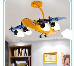 2019 lustre de hardware Decora Air Plane Design Suspensão quarto Início de superfície montada luzes de teto de Yellow Kid Crianças cor da lâmpada Semi Pendant L78cm LED azul e