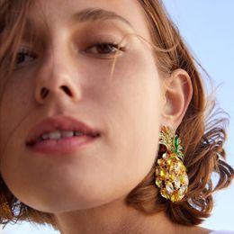 orecchino maxi Sconti Miwens New Fashion Pineapple Crystal Ciondola gli orecchini di goccia per le donne Lusso Maxi Dichiarazione Orecchini pendenti Gioielli da sposa