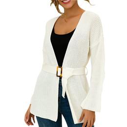 Frauen Wolljacke Mantel Strickjacke Jacke plus Größe Damen Feste mit V Ausschnitt Langarm Cardigan Knit mit Gürtel Strickjacke Mantel # D