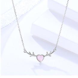 e66ce662f1da Rosa del corazón collares de cristal s925 joyas de plata colgantes de amor  para mujer regalos de amante cadenas cortas finas chapado en oro blanco  precio al ...
