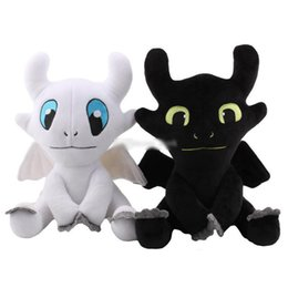stuffed dragons Promo Codes - 25cm 35cm How to Train Your Dragon 3 Plush Toy Toothless Light Fury Soft White black Dragon Stuffed Animals Doll kids toys
