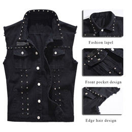 2020 jeans jeans sem mangas HEFLASHOR Men Fashion Rock Rivet Denim Vest Punk Style Cowboy Rivet Jeans Waistcoat Men Motorcycle Sleveless Jeans Jacket 2019 desconto jeans jeans sem mangas