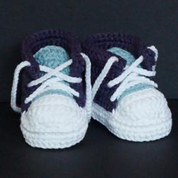 Stivali da bambino infilati online-QYFLYXUEHandmade ragazzi delle neonate Crochet della scarpa da tennis dei bottini infantili maglia Scarpe suola molle coperta Casual scarpe di cotone