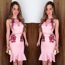 bandage piece skirt set Promo Codes - Summer Women 2 Piece Bodycon Two Piece Sets Sleeveless Crop Top and Short Skirt Set Bandage Dress Clubwear Floral Print Dresses Sets