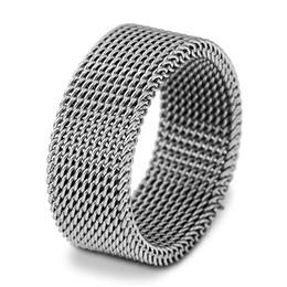 Titan-mesh-platte online-Band ringe großhandel titanium stahl ringe schmuck kurze mode hohe qualität vergoldet edelstahl mesh männer frauen fingerringe lr090