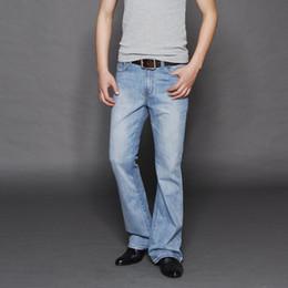 männer glocke unten Rabatt Neue ankunft 2017 männer hellblau ausgestellte jeans männer bell bottom denim hose männlich plus größe jean hose mitte taille 053006