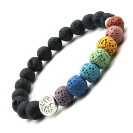 gift christmas tree Coupons - Tree of Life 8mm Colorful Seven Chakras Black Lava Stone Bracelet DIY Aromatherapy Essential Oil Diffuser Bracelet Yoga Jewelry