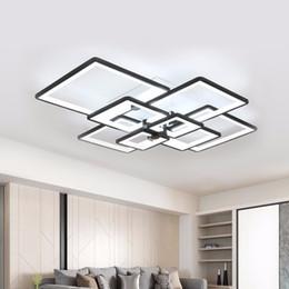 Canada Lustre moderne LED éclairage pour salon carré noir maison à manger luminaires avec télécommande lampe lustre cheap square chandeliers modern dining room Offre