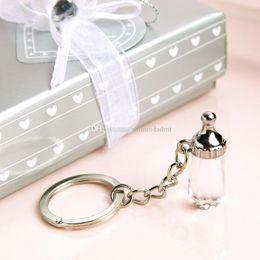 Deutschland Kristallbabyflasche Keychain Baby-Taufgeschenk-Babyparty und Hochzeit bevorzugt Geschenkbox-Verpackung DHL-freies Verschiffen Versorgung