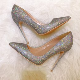 Botas estilo glitter online-Tarifa de envío gratis nuevo estilo multi color brillo strass punta del dedo del pie zapatos de tacones altos botas bombas novia zapatos del banquete de boda