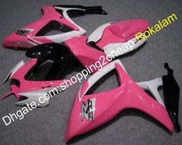 Carenados rosa negro online-K6 Fairing Kit 2006 2007 para Suzuki Cowling GSXR-600 GSX-R750 06 07 GSXR600 GSXR750 Pink Black White Carenados personalizados (moldeo por inyección)