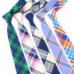Cravatte in cotone per uomo Cravatta scozzese Krawatte Mode Homme Cravatta stretta Gravatas Corbatas Abito slim Abiti Abiti Cravatte uomo da