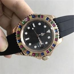 2019 bracelet en caoutchouc Montres automatique bon marché lunette diamants Candy 116695 bracelet en caoutchouc yacht or rose montre de sport pour homme bracelet en caoutchouc pas cher