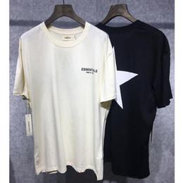 Пентаграмма черная онлайн-2019 новый страх Божий футболки женщины мужчины 1f:1 абрикос черный Essentials страх Божий футболка пентаграмма печать страх Божий топ тройники