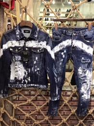 Moda homens ponto jeans on-line-jaqueta 19 novos jaqueta jeans dos homens lavados Magro d2 tendência laca X152297 ponto moda casual micro-elástica